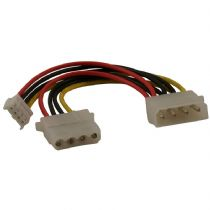 Molex To Molex and 4 Pin Floppy Drive Power Splitter Cable